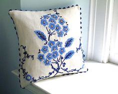 Vintage Blue Floral Embroidery Pillow- Linen - Shabby Chic Home Decor - Recycled Shirt Back- Includes Insert. $38.00, via Etsy.