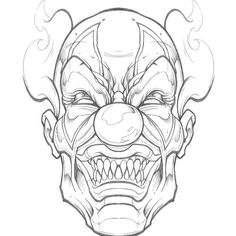 Scary Drawings, Badass Drawings, Joker Drawings, Pencil Art Drawings, Tattoo Design Drawings, Skull Tattoo Design, Tattoo Sketches, Drawing Sketches, Clown Tattoo