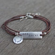 Stamp your own special message onto this easy to make leather wrapped bracelet.