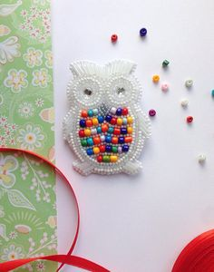 Colorful Owl Brooch White Owl Brooch Gift Idea Bead