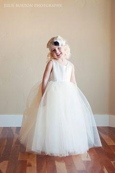 The Ballerina Flower Girl Dress:  Romantic tutu skirt. Fully lined. Tutu bridesmaid dress. Tulle flower girl dress. $125.00, via Etsy.