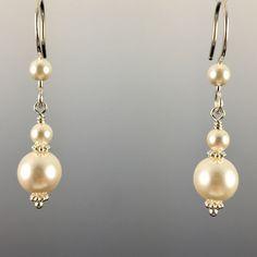Swarovski Crystal Pearl Simple Drop Earrings - 8mm