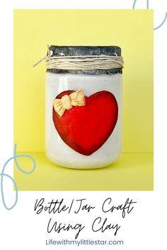 Easy jar craft using air dry clay  #jarcrafts #diy Cute Crafts, Crafts To Do, Crafts For Kids, Diy Crafts, Mason Jar Crafts, Bottle Crafts, Fun Activities For Kids, Air Dry Clay, Pretty And Cute