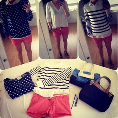 Red/coral shorts, white top, blue white stripe top and polka dots