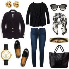 Classic Black by pinkngreennblack on Polyvore featuring J.Crew, Frame, Church's, Tory Burch, Hermès and CÉLINE