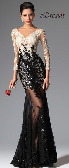 eDressit Sexy Sequin Lace Sleeves Evening Gown