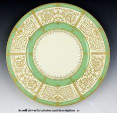 Fantastic Set 11 Cream Green Gilded Royal Worcester Dinner Plates 1929 | eBay