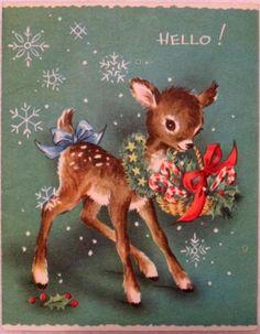 #1158 50s Sweet Deer Says Hello! Vintage Christmas Greeting Card
