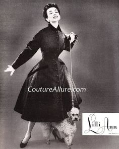 Also from 1954, this princess coat was fashioned of a blend of wool and Alaskan seal, with velvet accents. Came in black, red, cognac, natural, and purple. Sold in 1954 for $100.00 (about $817.00 in today's dollar).