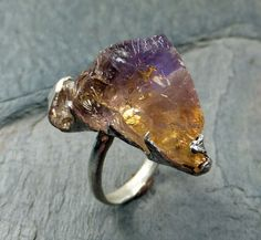 Raw Rough Ametrine Gemstone Ring Sterling Uncut Ametrine Citrine Amethyst Recycled Silver Ring byAngeline
