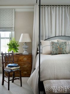 """Welcoming Fall Home Tour 2017 - Glam Fall Bedroom """"The wife gravitates toward a look that is tailored but feminine, with soft colors and not too much pattern,"""" says Lanham; the effect in the master bedroom is calm and collected. Fall Bedroom, Home Bedroom, Bedroom Decor, Bedroom Drapes, Curtains, Girls Bedroom, Bedroom Ideas, Romantic Master Bedroom, Pretty Bedroom"""