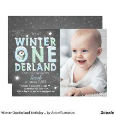 Winter Onederland birthday party invite Boy Blue