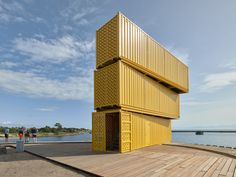 3 stacked shipping containers create a diving tower in Denmark