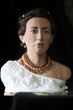 The reconstructed face of a woman believed to be a Philistine, unveiled in Jerusalem on Thursday to promote a new TV series (photo credit: C...