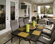 Screened patio:  this is most likely how mine will turn out.  My room is 26' x 9' with one set of french doors going into the living room and a single screen door going to the back yard.