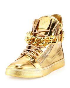 Neiman Marcus:  Giuseppe Zanotti Men's Metallic Chain & Zipper High-Top Sneaker, Gold  $1,125.00