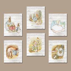 PETER RABBIT Nursery Wall Art CANVAS or Prints Wood Grain Effect Child Boy Girl Storybook Modern Set of 6 Gallery Baby
