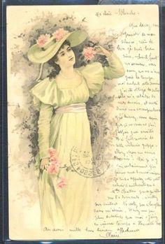 PY138-ART-NOUVEAU-Elegant-LADY-Large-HAT-PICKING-FLOWERS-Fine-LITHO-1902