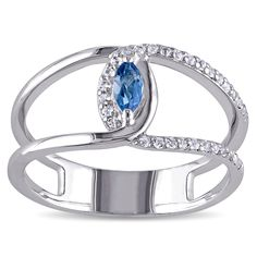 Miadora Sterling Silver Blue and White Topaz Double Band Ring (Size 8.5), Women's