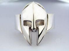 Spatans,King Leonidas' Helmet, Spartan Helmet Ring, 300 Ring, Solid Sterling Silver Wide Band