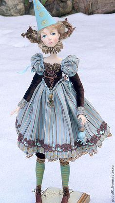 Купить Коллекционная кукла Паолина - бирюзовый, коломбина, коллекционная кукла, авторская кукла