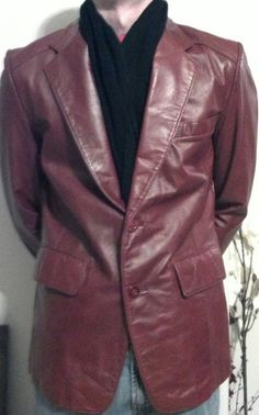 a1af35ae2827 70s VTG Men's Leather Blazer Jacket 42 Dad leather by PeachGroup. That  would make a