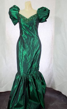 Vintage 1980s metallic green fish tail prom by WindingRoadVintage, $58.00
