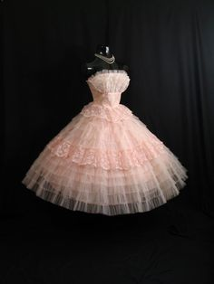 Vintage 1950s 50s Bombshell STRAPLESS Pink Tiered Layered Tulle Lace Circle Skirt Party Prom Wedding DRESS Gown Formal via Etsy