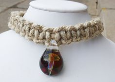 Plain Phatty  Glass Mushroom Hemp Necklace by sherrishempdesigns, $20.00