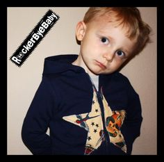 Punk Rock Baby Boys Hoodie Navy with Natural Tattoo fabric in a STAR applique SIZE 2tFrom RockerByeBaby
