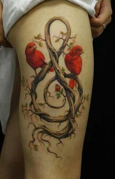 Birds music note tattoo. Beautiful art