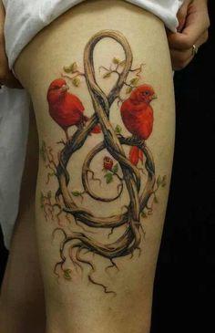 Birds music note tattoo. Beautiful art