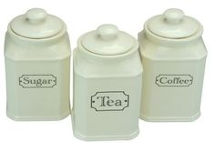 Tea Coffee Sugar Kitchen Storage Canister Jars Containers With AirTight Lid BNIB   eBay