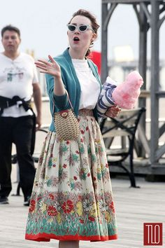 "Love the skirt! Saoirse Ronan-On-Set for film ""Brooklyn"" (coney island)Tom-LOrenzo-Site-TLO"