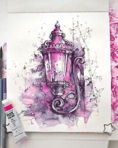 "The original watercolor drawing ""The lanterns in London city"" Watercolor Artists, Watercolor Drawing, Watercolor Paintings, Watercolor Inspiration, Memes Arte, Urban Sketching, Art Design, Anime Comics, Art Nouveau"