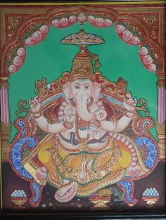 Mysore Painting, Tanjore Painting, Indian Folk Art, Elephant Head, Traditional Paintings, Indian Paintings, Online Painting, Gods And Goddesses, Wall Art Designs