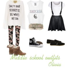 Middle School Outfits by girly-tippers on Polyvore featuring Wildfox, mbyM, 2nd One, Converse, Black Poppy and TOMS