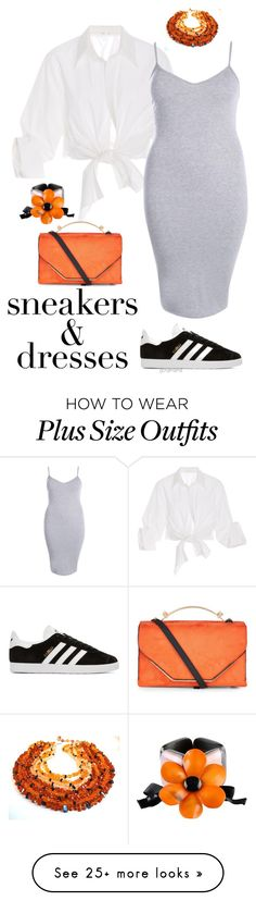 """""""Effortless- plus size"""" by gchamama on Polyvore featuring Johanna Ortiz, Boohoo, adidas Originals, New Look, Marni and SNEAKERSANDDRESSES Pear Fashion, New Years Eve Outfits, Little White Dresses, Dress With Sneakers, New Job, Swagg, Marni, Plus Size Women, Chic Outfits"""