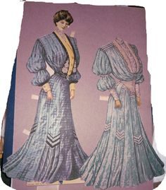 Sunday Sun Doll wearing one dress and shown with another  From Supplement to the Sunday Sun ca 1904 to 1905.  These are cut.