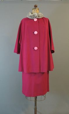 1960s Dark Pink Wool Swing Coat and Skirt Suit with Grey Mink Fur Trim, 31 inch waist skirt - dandelionvintage
