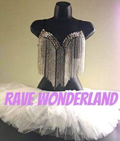 Women's Silver Rave Punk Metallic Studs Rivet Chain Tassels Bra + Tutu Full Outfit on Etsy, $35.99