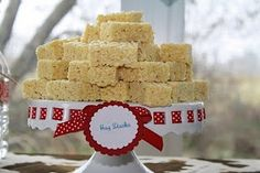 """Rice Krispie """"hay stacks"""": Cute for a cowboy or cowgirl birthday party theme, a farm / barnyard theme, and more!"""