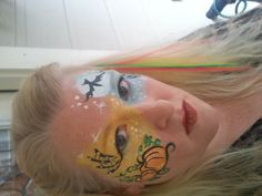 Day Night Halloween facepainting. Find face paints for Halloween at Hobbycraft http://www.hobbycraft.co.uk/celebration/halloween #facepainting #halloween