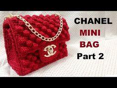 Crochet Bags Designs How to crochet CHANEL Mini Bag Part 2 - Hướng dẫn móc túi Chanel mini - Crochet Bag Tutorials, Crochet Purse Patterns, Easy Crochet Projects, Crochet Videos, Crochet Handbags, Crochet Purses, Crochet Bags, Crochet Shell Stitch, Bead Crochet