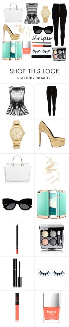 """""""Untitled #92"""" by anastasiashoup ❤ liked on Polyvore featuring WearAll, Michael Kors, Schutz, Karen Walker, NARS Cosmetics, Chanel and Butter London"""