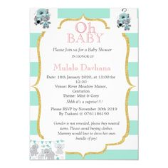 Shop Oh Baby Shower Mint Green Stripes Pink Floral Invitation created by CardHunter. Floral Invitation, Invitations, Green Stripes, Tool Design, Mint Green, Rsvp, Baby Shower, Templates, Frame
