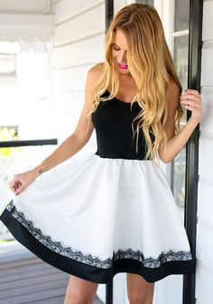 Look enchanting with this elegant eyelash-lace-trim A-line cami dress. It's ballerina-inspired with a touch of chicness. Get this with free shipping. #lookbookstore #FashionClothing