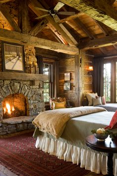 Bedroom fireplace - Great Point Lodge