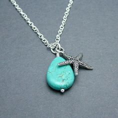 Starfish Necklace with Turquoise Teardrop by SweetBlueBirdJewelry, $20.00