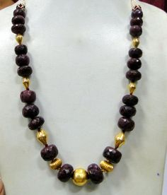 Vintage 22 K gold beads & Ruby gemstones necklace by TRIBALEXPORT, $750.00